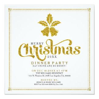 Gold Glitter Christmas Bells Dinner Invite