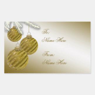 Gold Glitter Christmas Ornaments Rectangular Sticker
