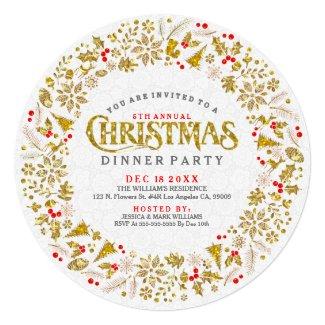 Gold Glitter Christmas Wreath Dinner Invite