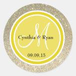 Gold Glitter & Citrine Yellow Wedding Monogram Round Stickers