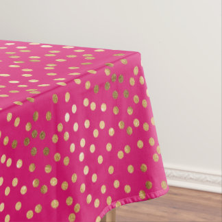 Gold Glitter City Dots On Hot Pink Table Cloth