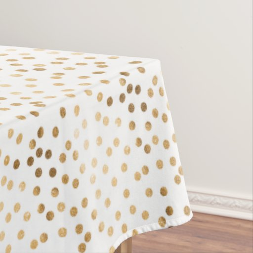 Gold Glitter City Dots On White Table Cloth Tablecloth