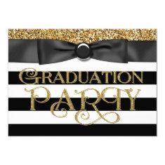Gold Glitter Class of 2015 Graduation 4.5x6.25 Paper Invitation Card