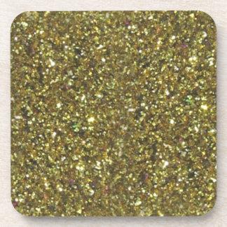 GOLD GLITTER COASTERS - set of 6