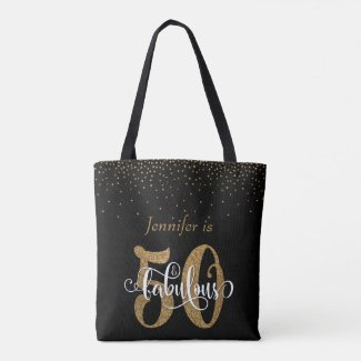 Gold Glitter & Confetti 50 & Fabulous Personalized Tote Bag