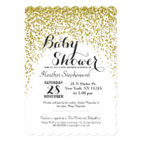Gold Glitter Confetti Baby Shower Invitations