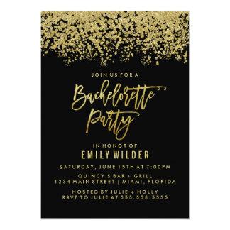 Gold Glitter Confetti Bachelorette Party Invitation