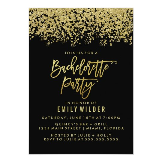 Gold Glitter Confetti Bachelorette Party Invitation Zazzle Com