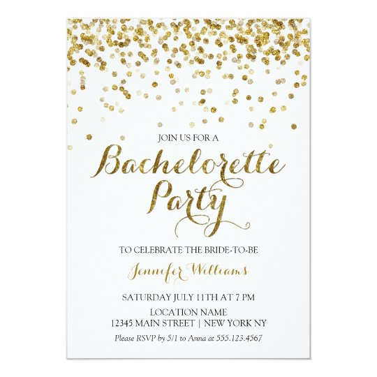 Gold Glitter Confetti Bachelorette Party Invite Zazzlecom