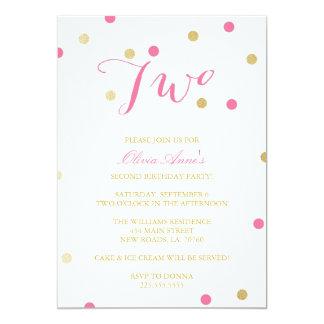 """Gold Glitter Confetti Birthday Invitations 5"""" X 7"""" Invitation Card"""