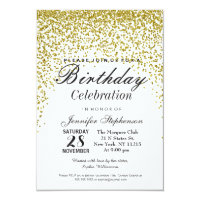 Gold Glitter Confetti Birthday Party Invitations