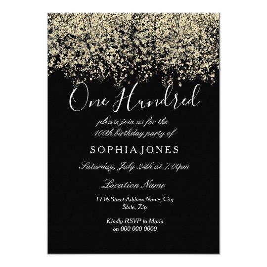 gold glitter confetti black 100th birthday party invitation zazzle com