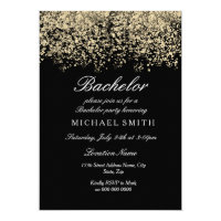 Gold Glitter Confetti Black Bachelor Party Card