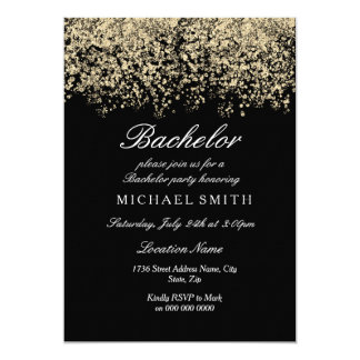 Gold Glitter Confetti Black Bachelor Party Card