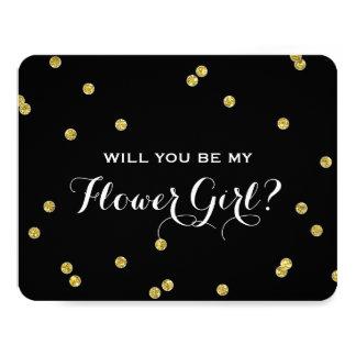 Gold Glitter Confetti Black | Flower Girl Card