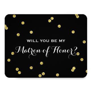 Gold Glitter Confetti Black | Matron of Honor Card