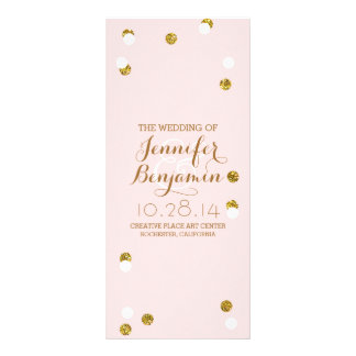 gold glitter confetti blush wedding programs