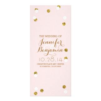 gold glitter confetti blush wedding programs rack card design