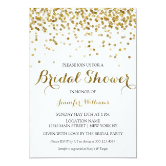 gold glitter confetti bridal shower invitation