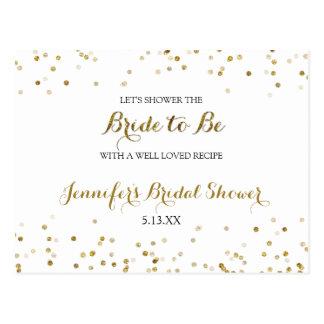 Gold Glitter Confetti Bridal Shower Recipe Card
