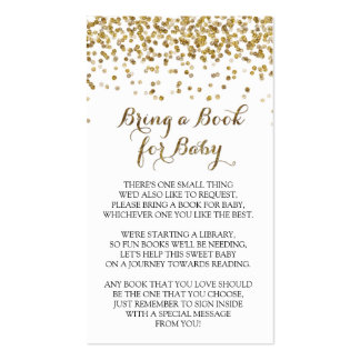 Gold Glitter Confetti Bring a Book for Baby Insert Business Card