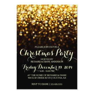 Gold Glitter Confetti Christmas Party Invitation