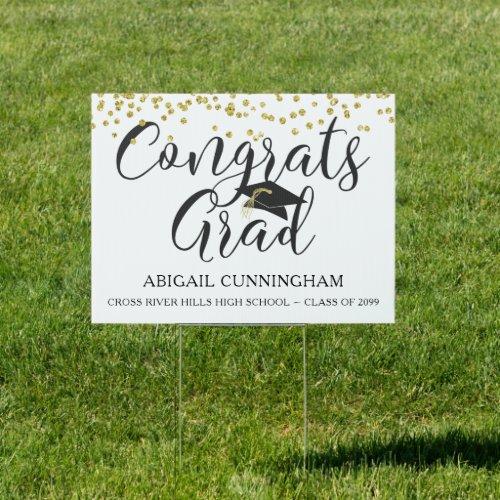 Gold Glitter Confetti CONGRATS GRAD Graduation Sign