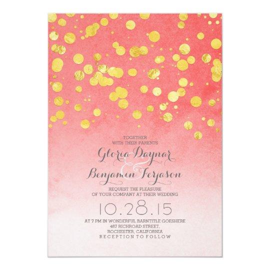 Gold Glitter Confetti Coral Pink Wedding Invites Zazzle Com