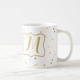 Gold Glitter Confetti Dot Polka Coffee Cup Mug