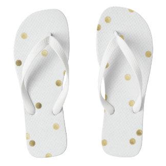 Gold Glitter Confetti Dot Polka Flip Flop Sandals Flip Flops