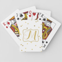 Gold Glitter Confetti Dot Polka Nail Playing Cards
