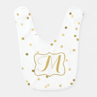 Gold Glitter Confetti Dot Polka Pattern Baby Bib