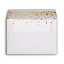 Gold Glitter Confetti Dots for 5x7 Invite Envelope