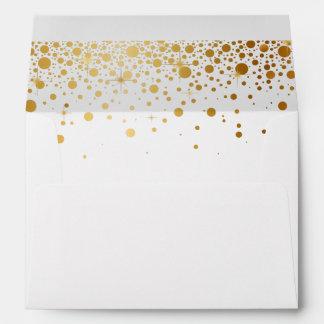 Gold Glitter Confetti Dots for 5x7 Invite Envelope