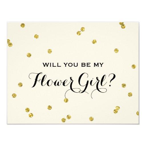 Gold Glitter Confetti Flower Girl 4.25x5.5 Paper Invitation Card