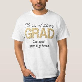 Gold Glitter Confetti Graduation Party Custom T-Shirt