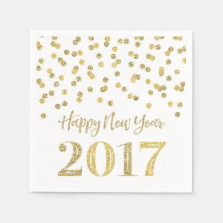 Gold Glitter Confetti Happy New Year 2017 Paper Napkin