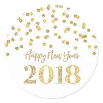 Gold Glitter Confetti Happy New Year 2018 Classic Round Sticker