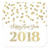 Gold Glitter Confetti Happy New Year 2018 Square Sticker