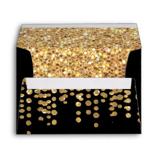 Gold Glitter Confetti Look with Black Background Envelope