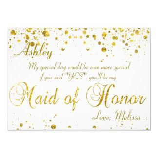 Gold Glitter Confetti   Maid of Honor 5x7 Paper Invitation Card