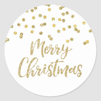 Gold Merry Christmas Stickers | Zazzle