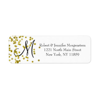 Gold Glitter Confetti Monogram Address Label
