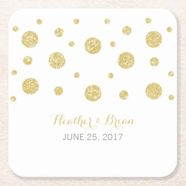 trendythings Gold Glitter Confetti Paper Coasters