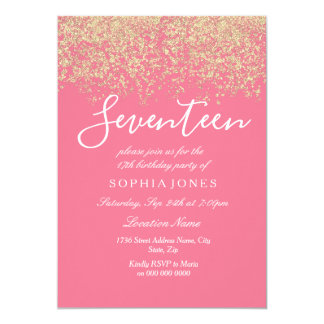 Gold Glitter Confetti Pink 17th birthday party Card