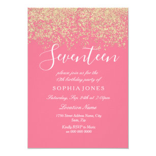 seventeenth birthday invitations zazzle