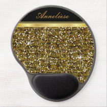 Gold Glitter Confetti Print Gel Mouse Pad