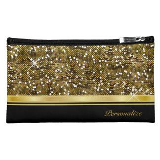 Gold Glitter Confetti Print Make Up Cosmetic Bag