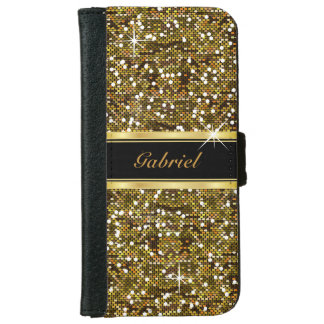 Gold Glitter Confetti Print Wallet Phone Case For iPhone 6/6s