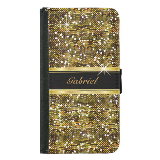 Gold Glitter Confetti Print Wallet Phone Case For Samsung Galaxy S5
